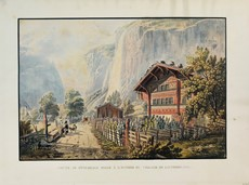 Matthias Gabriel Lory - Switzerland. LORY. Two aquatints of Swiss landscapes.