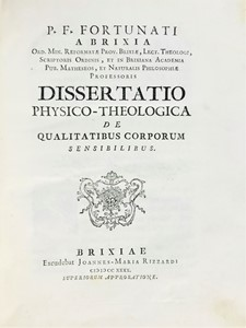 Gerolamo FERRARI Padre Fortunato BRESCIA - Philosophy and Mathematics. BRESCIA. Lot of 2 works in a volume.