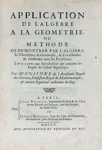M. GUISNÈE - Mathematics. GUISNÈE. Application de l'Algebre a la Geometrie.