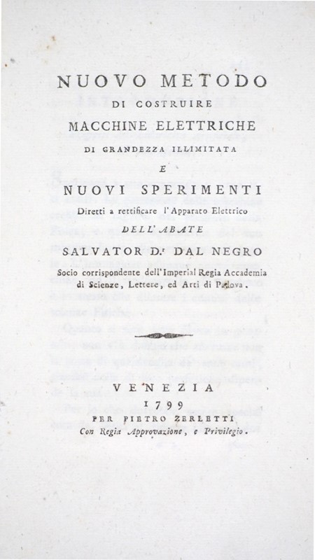Electric Machines. DAL NEGRO. Nuovo metodo di costruire Macchine Elettriche.  - Auction FINE RARE BOOKS, ATLASES AND MANUSCRIPTS - Bado e Mart Auctions