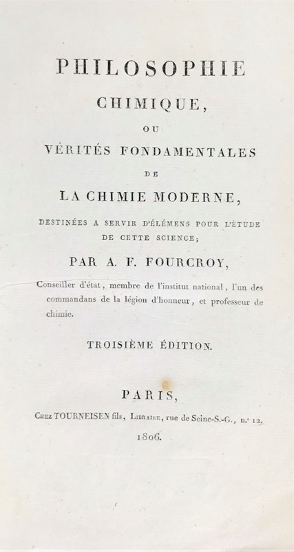 Antoine-François de FOURCROY : Chemistry. FOURCROY. Philosophie chimique.  - Auction FINE AND RARE BOOKS - Bado e Mart Auctions