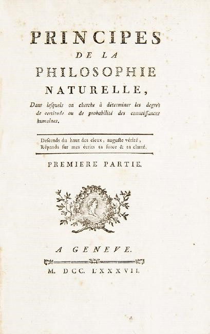 Natural philosophy. LA METHERIE. Principes de la philosophie naturelle.  - Auction  [..]