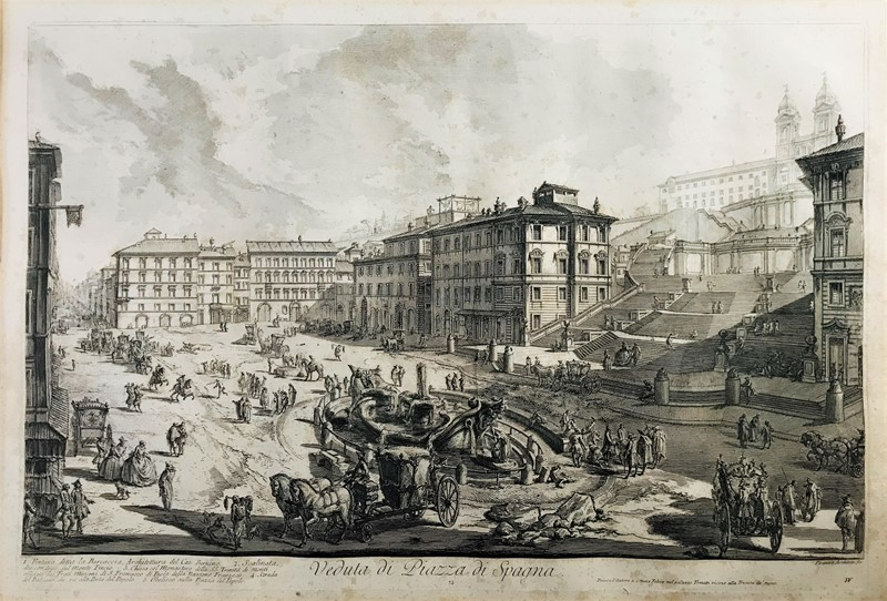 Giovanni Battista PIRANESI : PIRANESI. Veduta di Piazza di Spagna. Etching.  - Auction FROM VENICE TO ORIENT PART II. ANTIQUE ART WORKS. - Bado e Mart Auctions