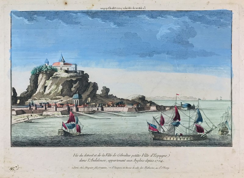 Jacques Gabriel Huquier : British Gibraltar. HUQUIER. A view of Gibraltar, colony of England.  - Auction FINE AND RARE BOOKS, VOYAGES, ATLASES, MAPS AND PRINTS - Bado e Mart Auctions