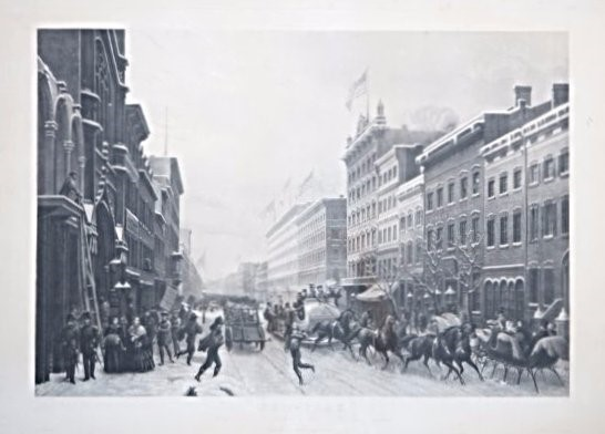 Hippolyte Sebron : New York. SEBRON. Winter Scene in Broadway.  - Auction FINE AND RARE BOOKS, VOYAGES, ATLASES, MAPS AND PRINTS - Bado e Mart Auctions