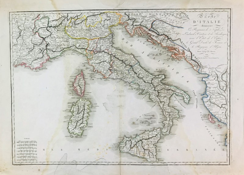 Jean Baptiste Pierre Tardieu : Italy. TARDIEU. Carte d'Italie.  - Auction FINE AND RARE BOOKS, VOYAGES, ATLASES, MAPS AND PRINTS - Bado e Mart Auctions