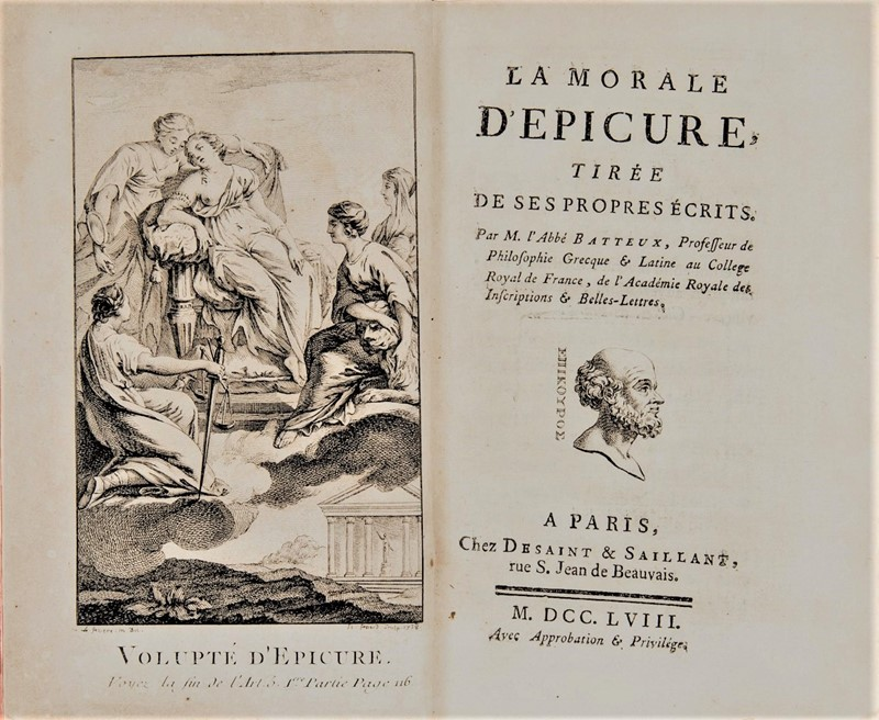 Epicure. BATTEUX. La morale d'Epicure.  - Auction RARE BOOKS, ATLASES, AUTOGRAPHS  [..]