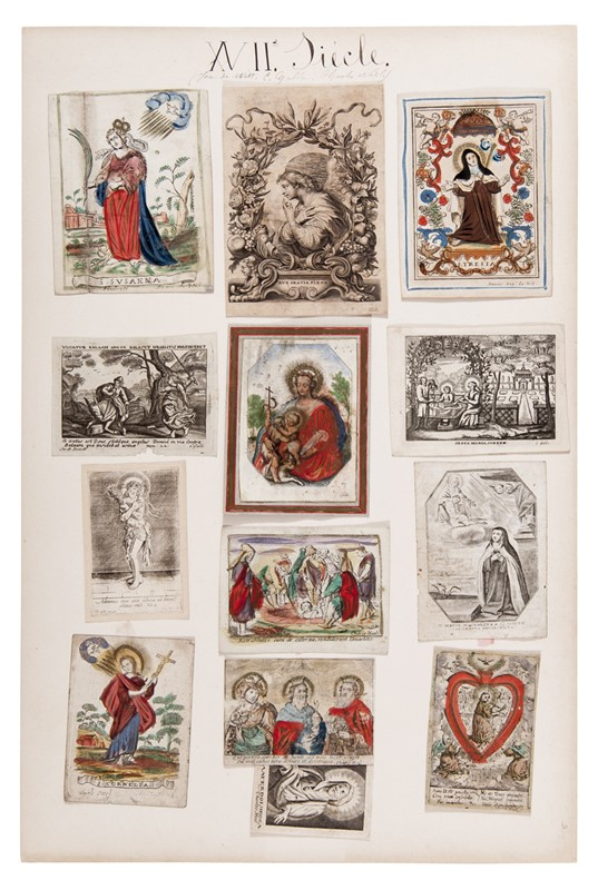 Scuola Fiamminga : Flemish School. Thirteen Flemish holy cards from the 17th century.  - Auction FINE AND RARE BOOKS, VOYAGES, ATLASES, MAPS AND PRINTS - Bado e Mart Auctions