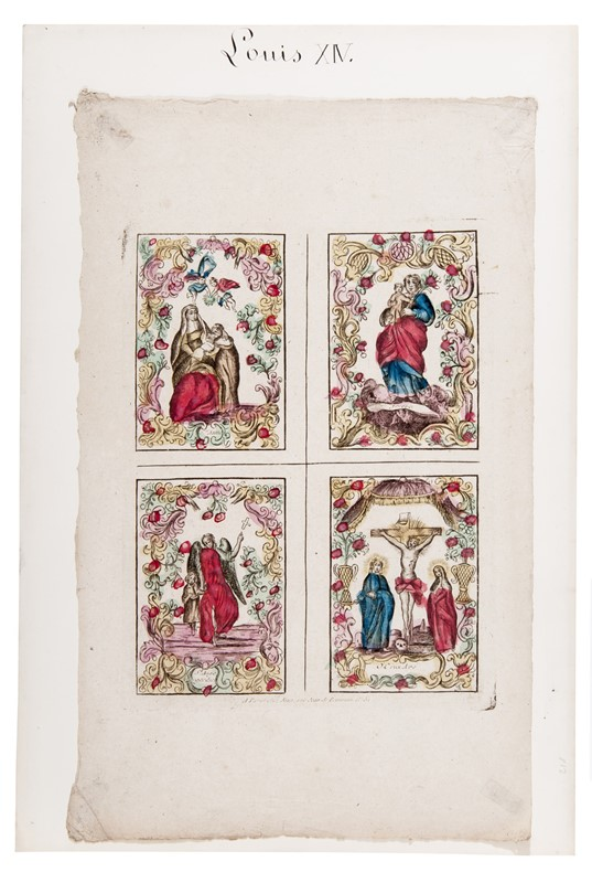 Scuola Francese : French School. An engraving with four holy pictures from the 17th and 18th centuries. Louis XIV.  - Auction FINE AND RARE BOOKS, VOYAGES, ATLASES, MAPS AND PRINTS - Bado e Mart Auctions