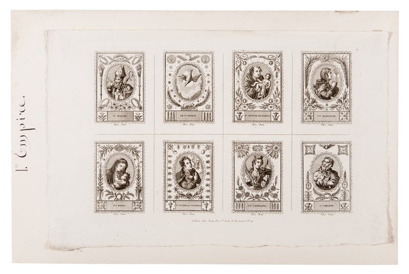 Scuola Francese : French School. An engraving with eight saints from the 19th century.  - Auction FINE AND RARE BOOKS, VOYAGES, ATLASES, MAPS AND PRINTS - Bado e Mart Auctions