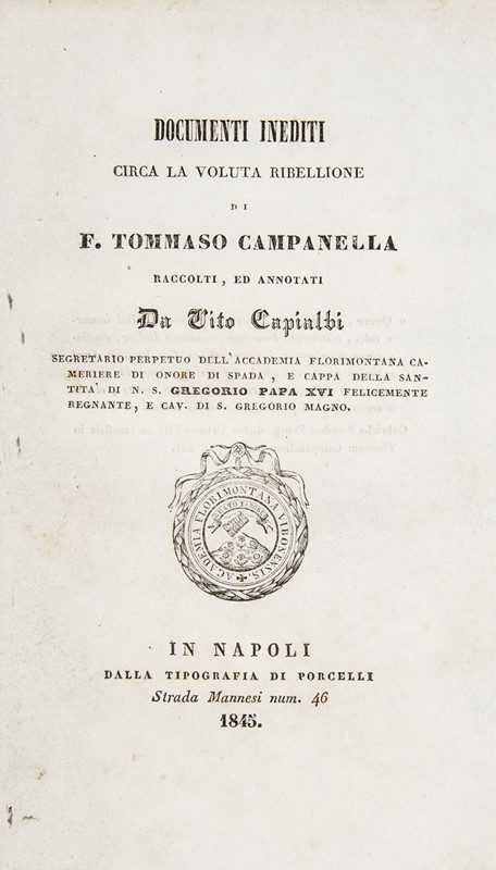 Campanella's works. Lot of 3 works.  - Auction FINE RARE BOOKS, ATLASES AND MANUSCRIPTS - Bado e Mart Auctions