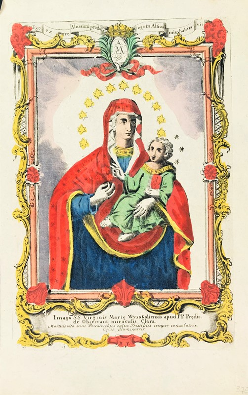 Remondini : Popular Print. REMONDINI. Madonna con Bambino. SS. Virginis Mariae Wysokoliensis.  - Auction FINE AND RARE BOOKS, VOYAGES, ATLASES, MAPS AND PRINTS - Bado e Mart Auctions