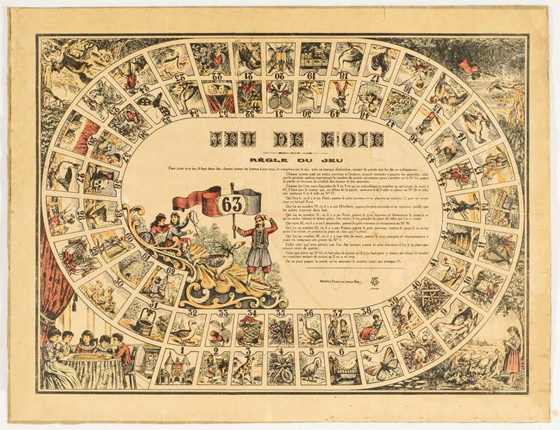 Anonimo : Game. Nouveau Jeu de l'Oie.  - Auction FINE AND RARE BOOKS, VOYAGES, ATLASES, MAPS AND PRINTS - Bado e Mart Auctions