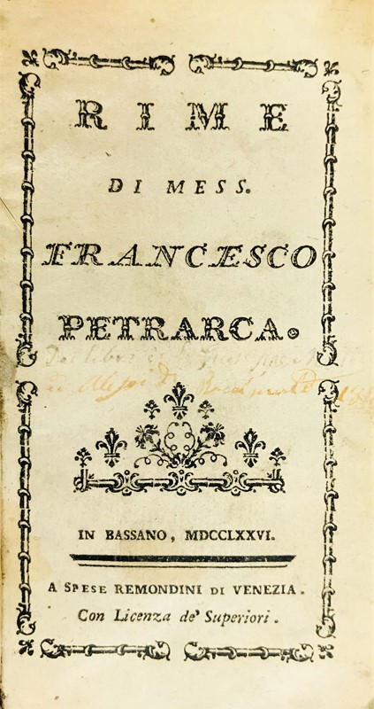 Francesco Petrarca : Rime.  (1776)  - Auction TRAVEL AND SCIENTIFIC BOOKS, ATLASES, PRINTS AND PHOTOS - Bado e Mart Auctions