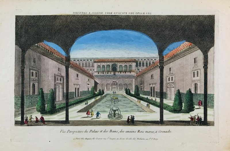 Jacques Gabriel Huquier : Spain. HUQUIER. View of the palace of Alhambra in Granada.  - Auction FINE AND RARE BOOKS, VOYAGES, ATLASES, MAPS AND PRINTS - Bado e Mart Auctions