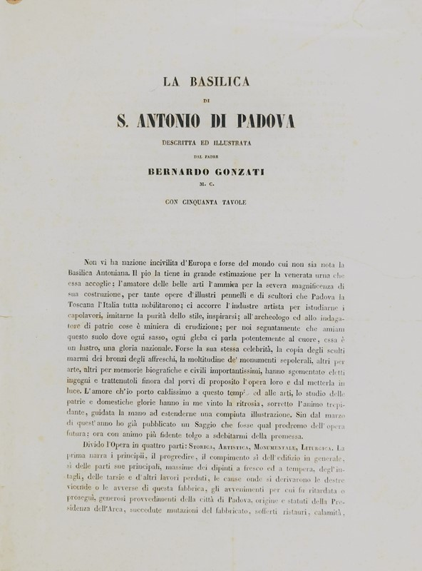 Bernardo GONZATI : Padua. GONZATI. La Basilica di S. Antonio di Padova.  - Auction FINE AND RARE BOOKS AND AUTOGRAPHS - Bado e Mart Auctions