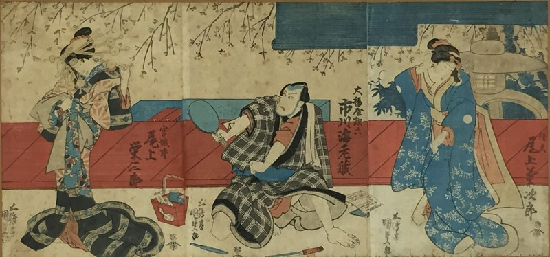 KUNISADA. Scenes from Kabuki plays. Triptych.  - Auction FROM VENICE TO ORIENT ANTIQUE ART WORKS. - Bado e Mart Auctions