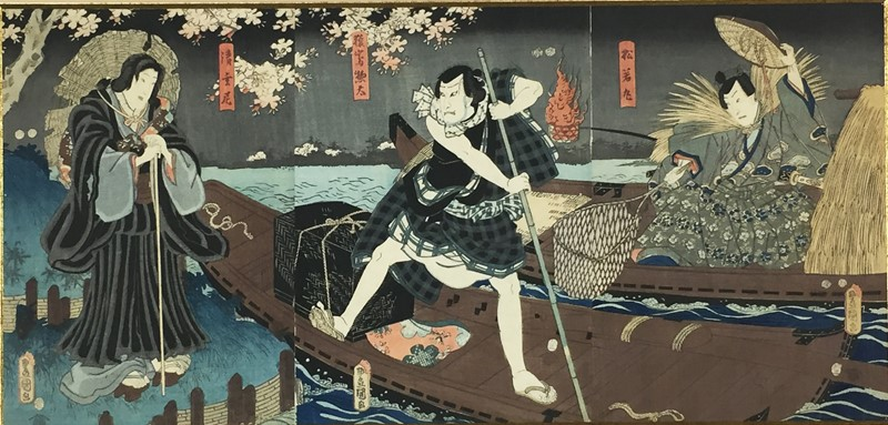 KUNISADA. Scene of the Kabuki theater. Triptych.  - Auction FROM VENICE TO ORIENT PART II. ANTIQUE ART WORKS. - Bado e Mart Auctions