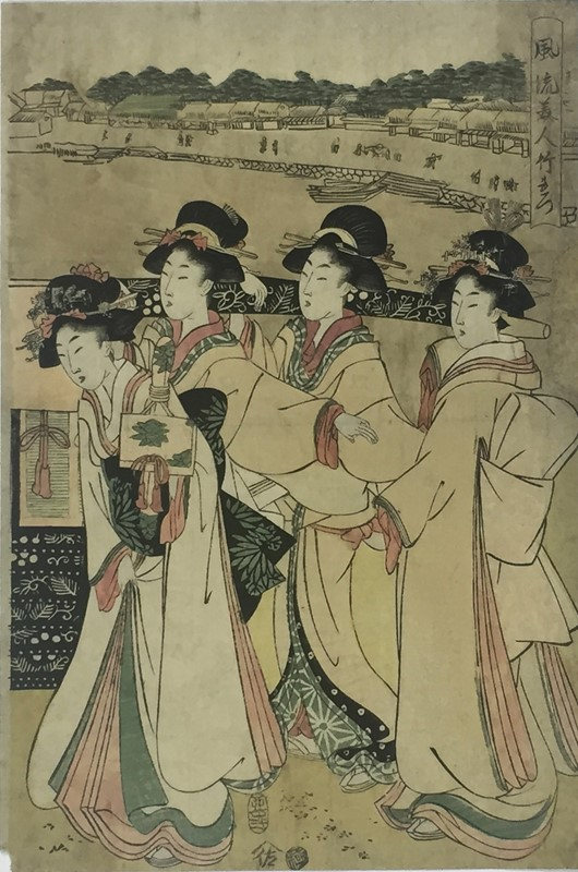 TAKEMARO. Bijin-ga. Four very elegant girls walking in the foreground carry a roll of precious fabric.  - Auction FROM VENICE TO ORIENT ANTIQUE ART WORKS. - Bado e Mart Auctions
