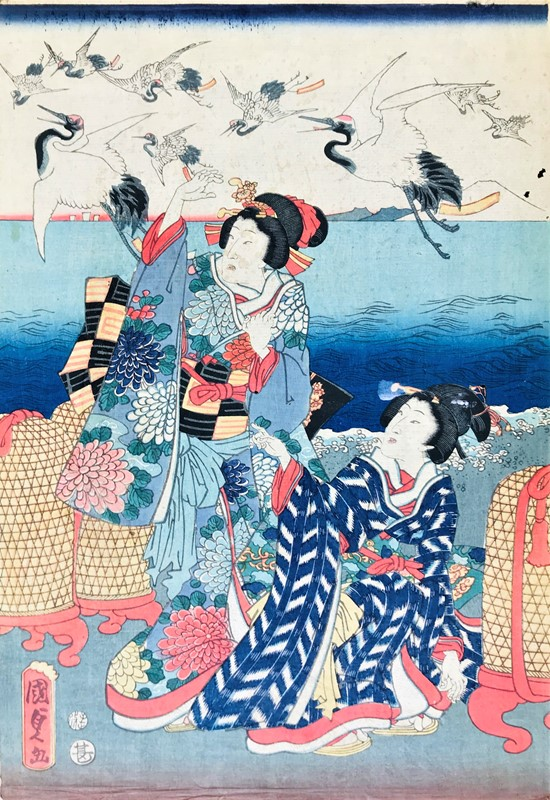 KUNISADA. Two ladies with herons in flight.  - Auction RARE BOOKS, ATLASES, AUTOGRAPHS  [..]