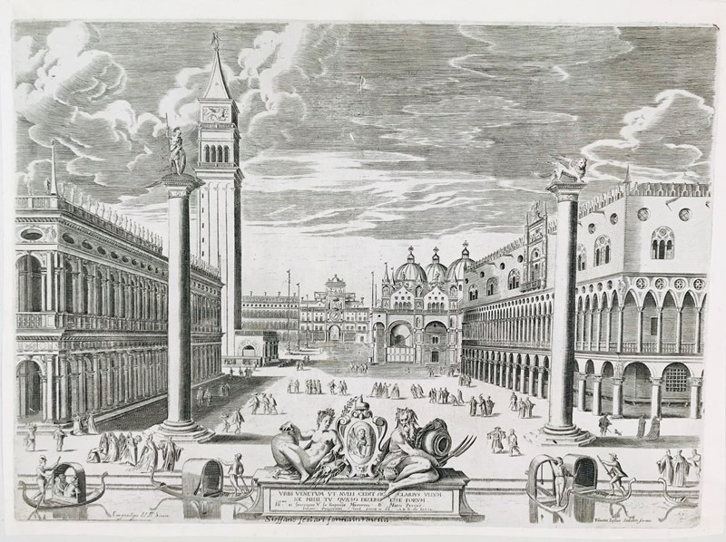 AA.VV. : Venice. SADELER – SCOLARI. Urbs Venetum ut Nulli (Veduta di piazzetta San Marco).  - Auction FINE AND RARE BOOKS, VOYAGES, ATLASES, MAPS AND PRINTS - Bado e Mart Auctions