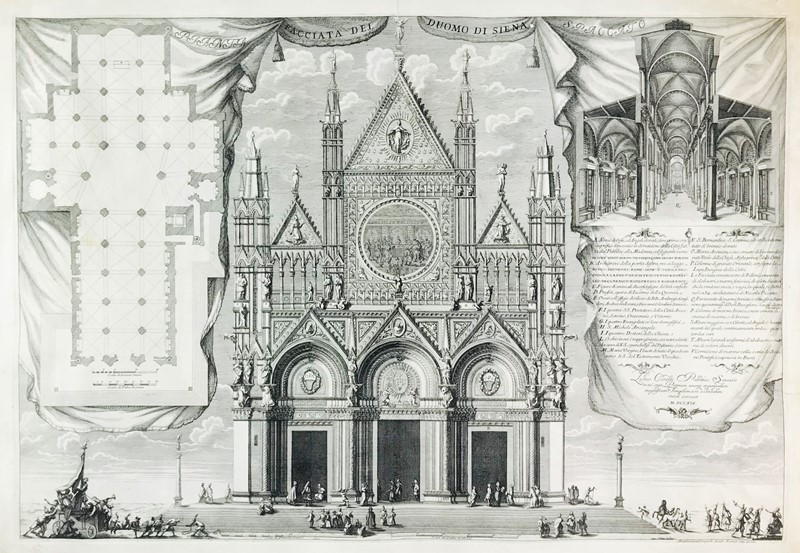 Etching. COSATTI. Facciata del Duomo di Siena...  - Auction FINE RARE BOOKS, ATLASES and DRAWINGS - Bado e Mart Auctions