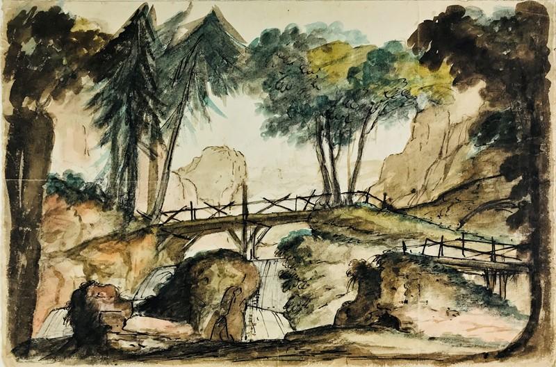 Watercolor. FOSSATI. Paesaggio montano con alberi e ponte.  - Auction FROM VENICE TO ORIENT PART II. ANTIQUE ART WORKS. - Bado e Mart Auctions