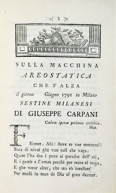 Aerostatic balls. CARPANI. Sulla macchina areostatica che s'alza.  - Auction FINE AND RARE BOOKS, VOYAGES, ATLASES, MAPS AND PRINTS - Bado e Mart Auctions
