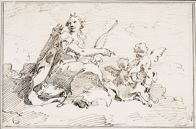 NOVELLI. Diana con arco, faretra, cane e due putti.  - Auction FINE RARE BOOKS, ATLASES and DRAWINGS - Bado e Mart Auctions