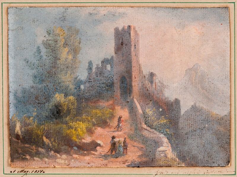 Maniera di Francesco BAGNARA. Paesaggio con torre e personaggi in cammino.  - Auction FROM VENICE TO ORIENT ANTIQUE ART WORKS. - Bado e Mart Auctions