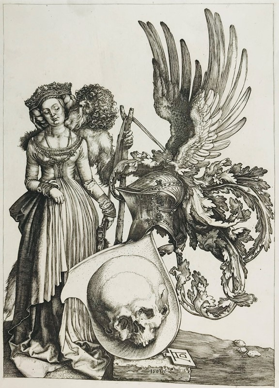 Albrecht DURER. The woman, the Time and the shield of the Death.  - Auction FROM VENICE TO ORIENT ANTIQUE ART WORKS. - Bado e Mart Auctions