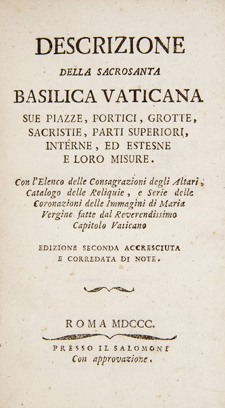 Vatican Basilica. Lot of two works.  - Auction FINE AND RARE BOOKS AND AUTOGRAPHS - Bado e Mart Auctions