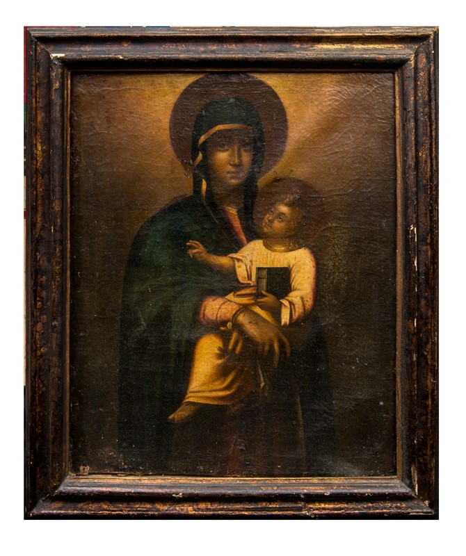 Cretan Venetian School. Black Madonna with the Child.  - Auction FROM VENICE TO ORIENT ANTIQUE ART WORKS. - Bado e Mart Auctions