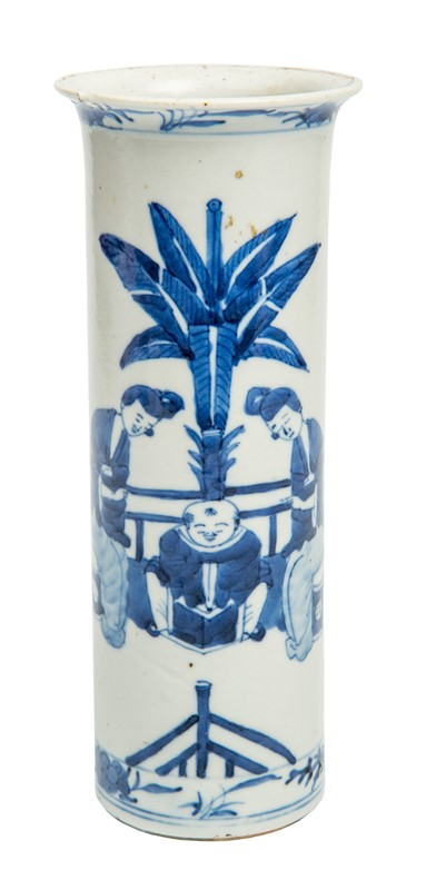 A Chinese Blue and White Vase Depicting a Man and Two Courtesans.  - Auction FROM VENICE TO ORIENT ANTIQUE ART WORKS. - Bado e Mart Auctions