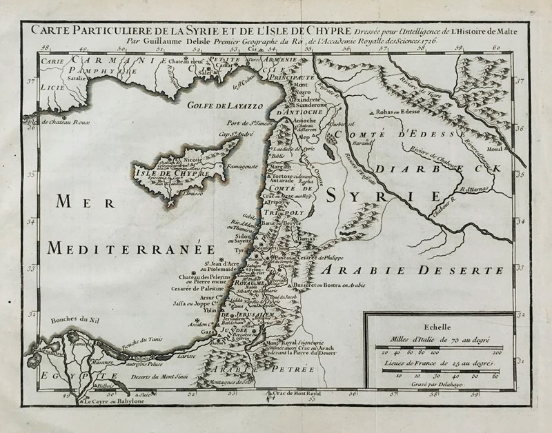 Guillaume Delisle : Malta. DELISLE. Carte Particuliere de la Syrie et de l'Isle de Chypre.  - Auction FINE AND RARE BOOKS, VOYAGES, ATLASES, MAPS AND PRINTS - Bado e Mart Auctions