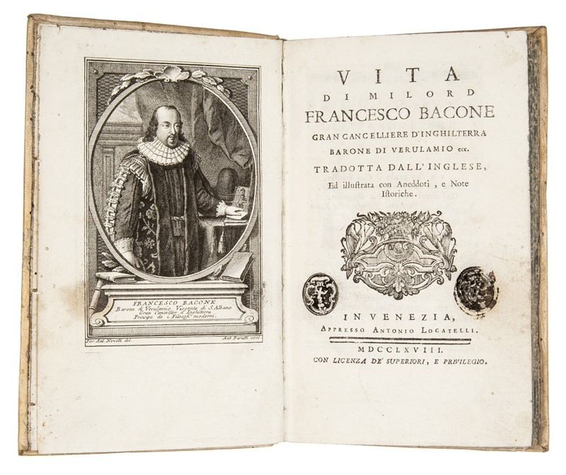 Bacon's Biography. MALLET. Vita di milord Francesco Bacone.  - Auction FINE AND RARE BOOKS, VOYAGES, ATLASES, MAPS AND PRINTS - Bado e Mart Auctions