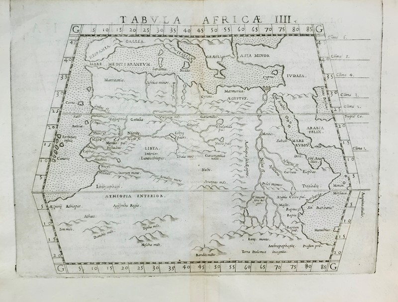 Claudio Tolomeo : Africa. PTOLOMAEUS. Tabula Aphricae IIII.  - Auction FINE AND RARE BOOKS, VOYAGES, ATLASES, MAPS AND PRINTS - Bado e Mart Auctions