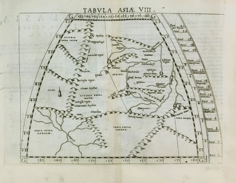 Claudio Tolomeo : Asia. PTOLOMAEUS. Tabula Asiae VIII.  - Auction FINE AND RARE BOOKS, VOYAGES, ATLASES, MAPS AND PRINTS - Bado e Mart Auctions