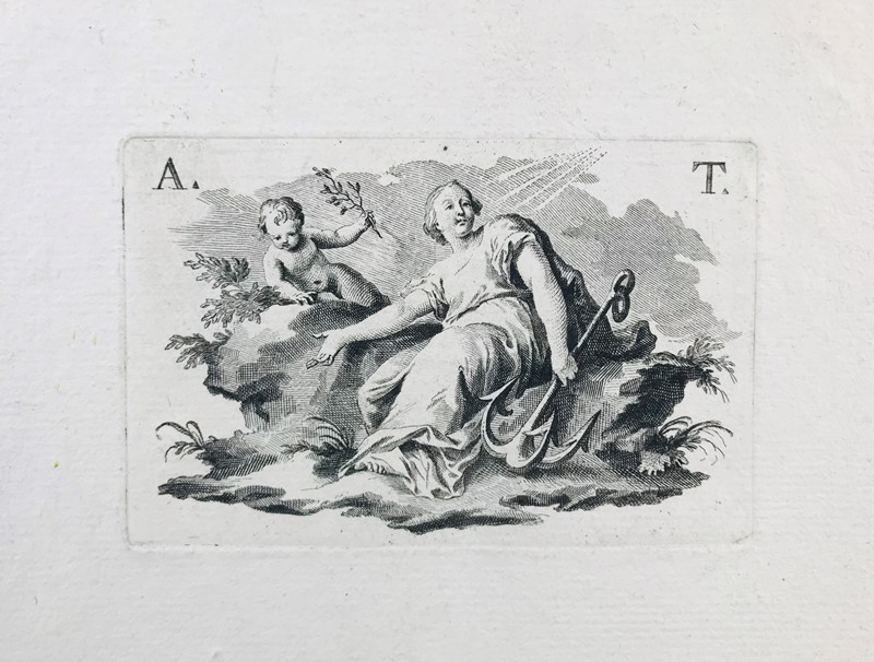Anonimo : Engraving. Allegorical scene.  - Auction FROM VENICE TO ORIENT PART II. ANTIQUE ART WORKS. - Bado e Mart Auctions