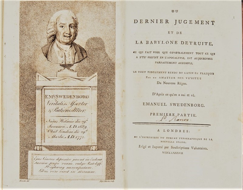 Prophecy and Apocalypse. SWEDENBORG. Du dernier jugement et de la Babylone detruite.  - Auction FINE RARE BOOKS, ATLASES and DRAWINGS - Bado e Mart Auctions