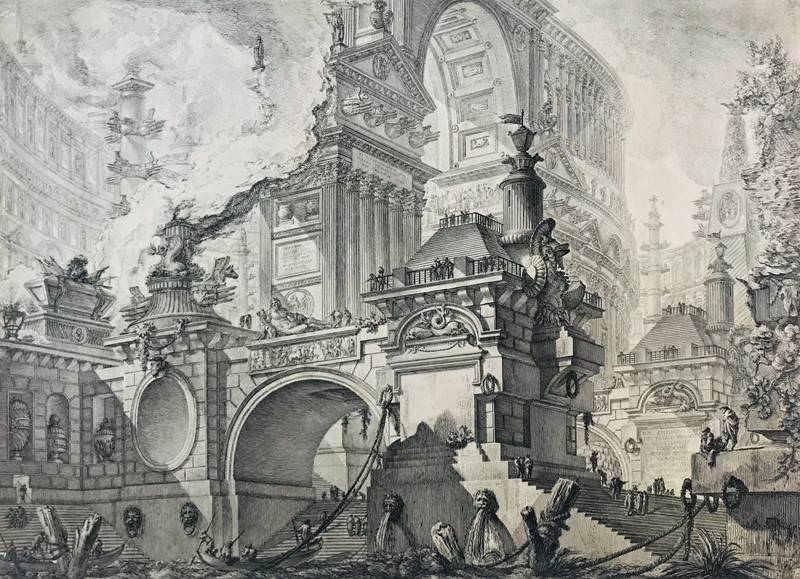 Giovanni Battista PIRANESI : PIRANESI. Architectural capriccio with boats and characters.  - Auction FROM VENICE TO ORIENT PART II. ANTIQUE ART WORKS. - Bado e Mart Auctions