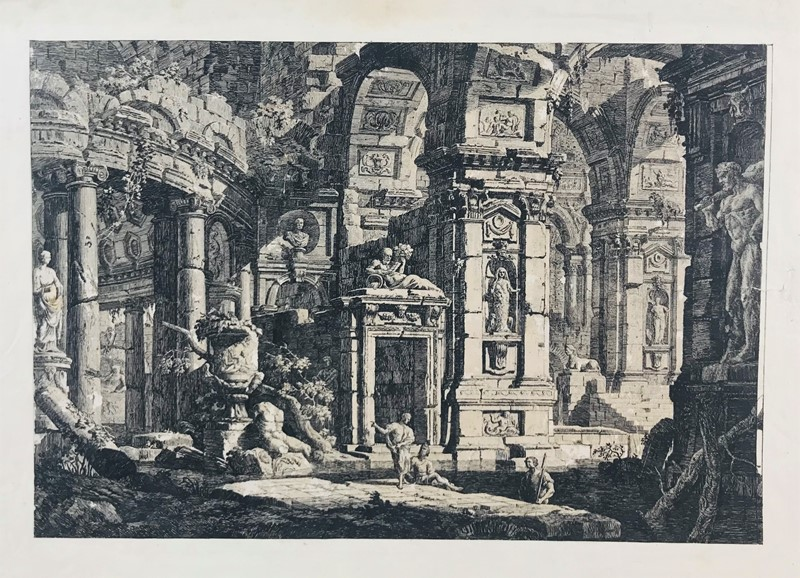 GASPARI. Architectural fantasy with statue of Hercules.  - Auction FINE RARE BOOKS, ATLASES and DRAWINGS - Bado e Mart Auctions