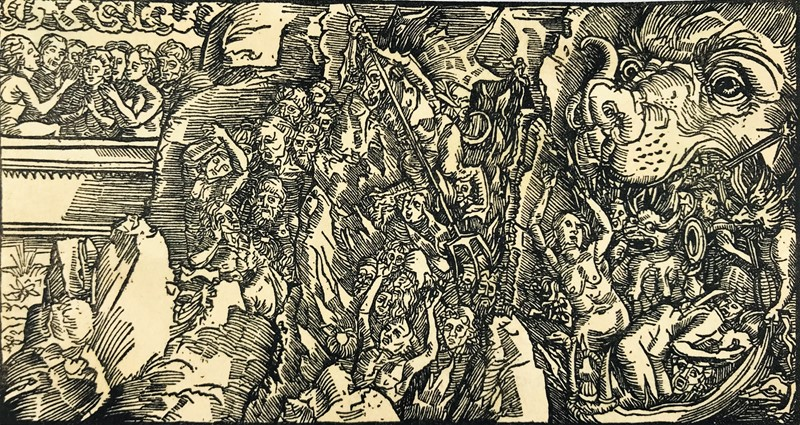 German woodcut depicting Hell.  - Auction FROM VENICE TO ORIENT PART II. ANTIQUE ART WORKS. - Bado e Mart Auctions