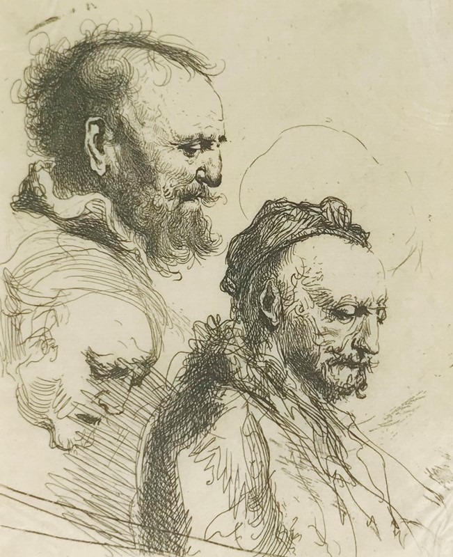 Harmenszoon van Rijn REMBRANDT : REMBRANDT. Three Studies of Old Men's Heads.  - Auction FINE RARE BOOKS, ATLASES and DRAWINGS - Bado e Mart Auctions