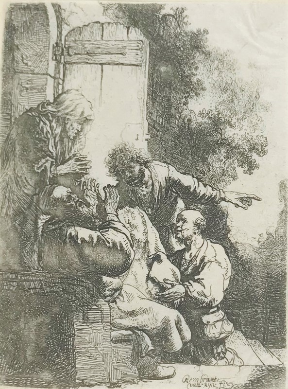 Harmenszoon van Rijn REMBRANDT : REMBRANDT. Joseph's Coat Brought to Jacob.  - Auction FINE RARE BOOKS, ATLASES and DRAWINGS - Bado e Mart Auctions