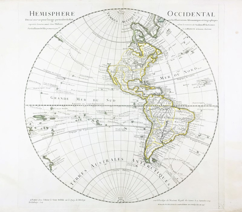 America. DELISLE. Hemisphere Occidental.  - Auction RARE BOOKS, ATLASES, AUTOGRAPHS  [..]