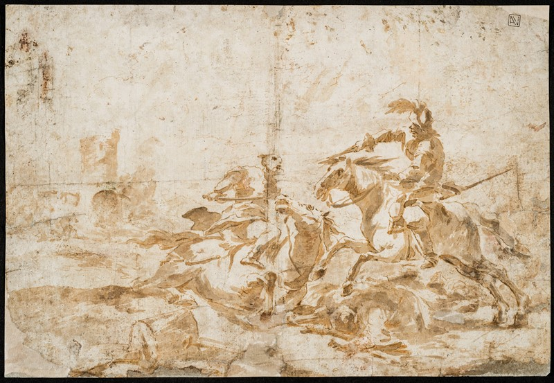 GUARDI. Battle of knights. Drawing.  - Auction RARE BOOKS, ATLASES, AUTOGRAPHS AND  [..]