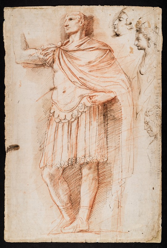 CARRACCI. Portrait of Pope Alessandro Borgia. Sculpture of Augustus. Drawing.  - Auction FINE RARE BOOKS, ATLASES and DRAWINGS - Bado e Mart Auctions