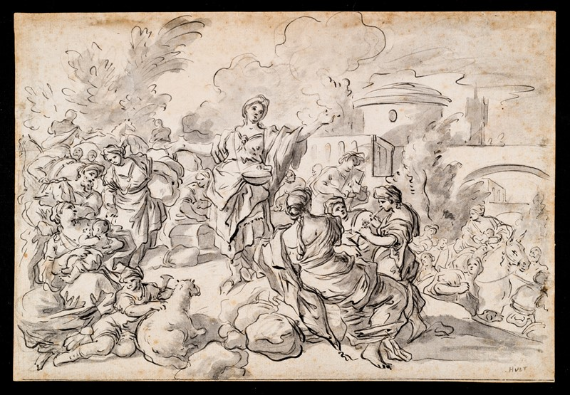 SOLIMENA. Country party. Drawing.  - Auction FINE RARE BOOKS, ATLASES and DRAWINGS - Bado e Mart Auctions