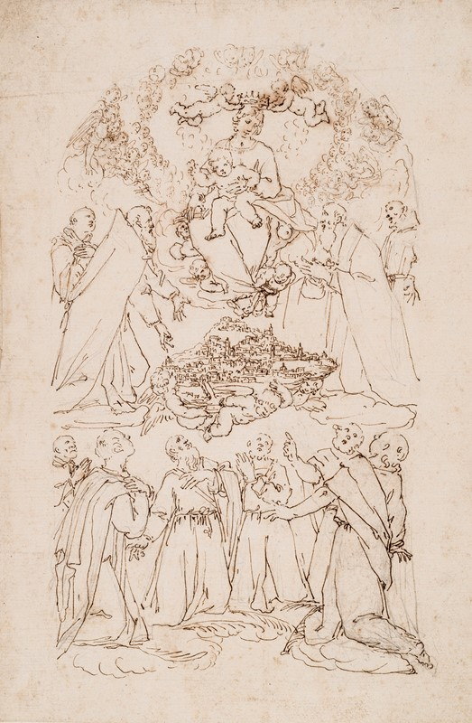 VECCHI. Preparatory drawing for an altarpiece.  - Auction FINE RARE BOOKS, ATLASES and DRAWINGS - Bado e Mart Auctions